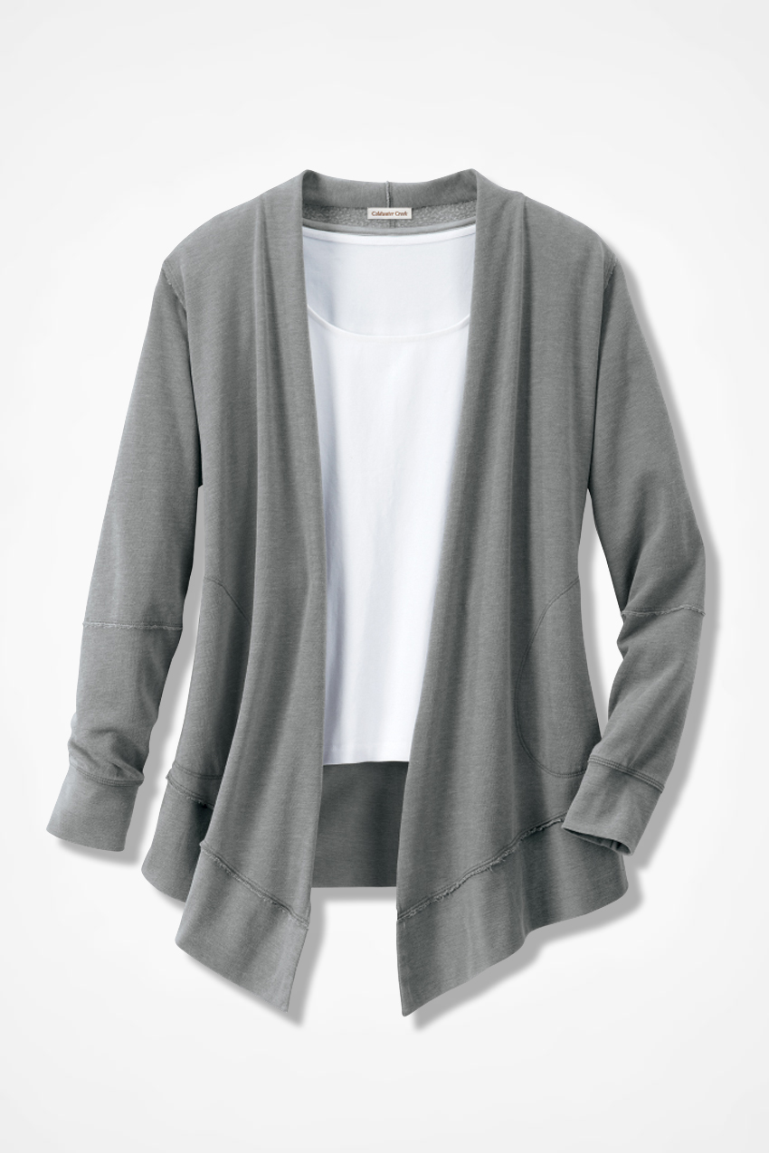 Colorwashed Fleece Open Cardigan - Coldwater Creek