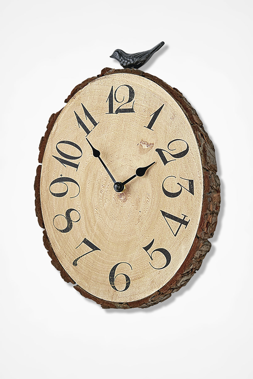 Time flies wooden wall clock coldwater creek time flies wooden wall clock natural large amipublicfo Image collections