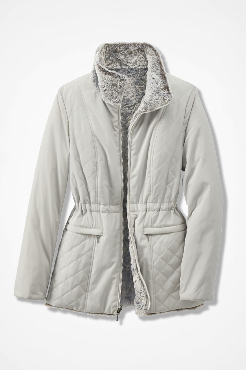 Reversible Faux Fur/Quilted Coat - Coldwater Creek : white quilted coat - Adamdwight.com