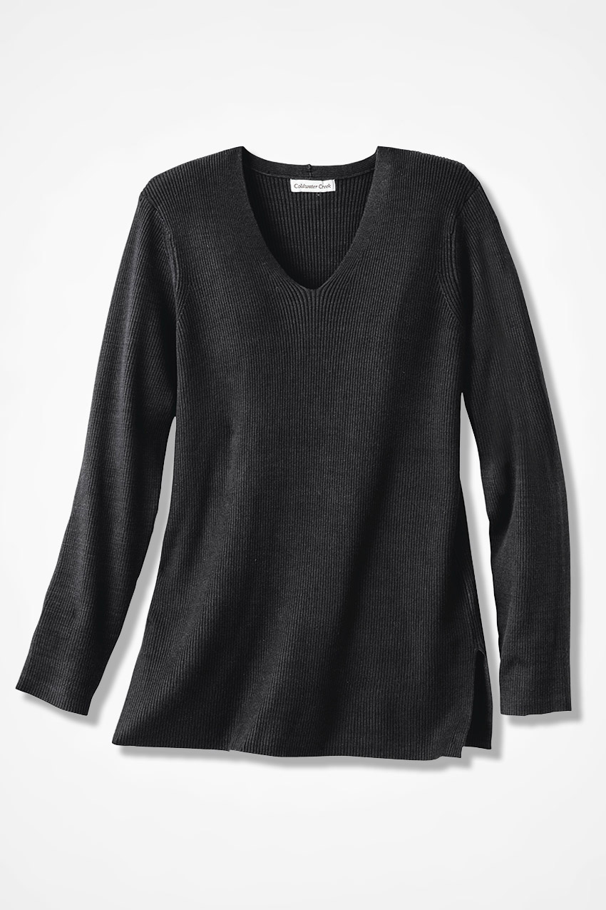 Ribbed V-Neck Tunic Sweater - Coldwater Creek
