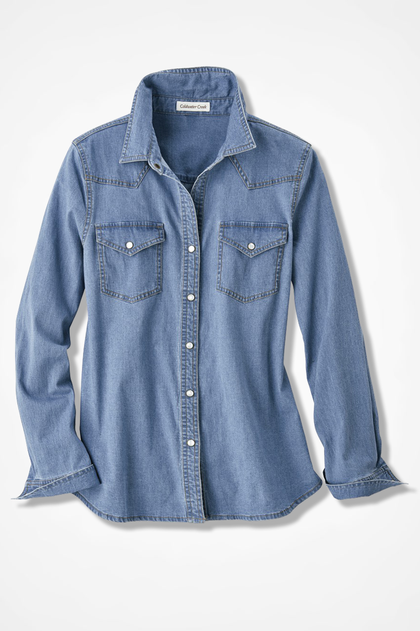 Coldwater Creek Snap Denim Shirt It To AjL5R4
