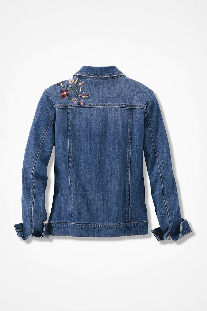 Desert rose embroidered denim jacket coldwater creek