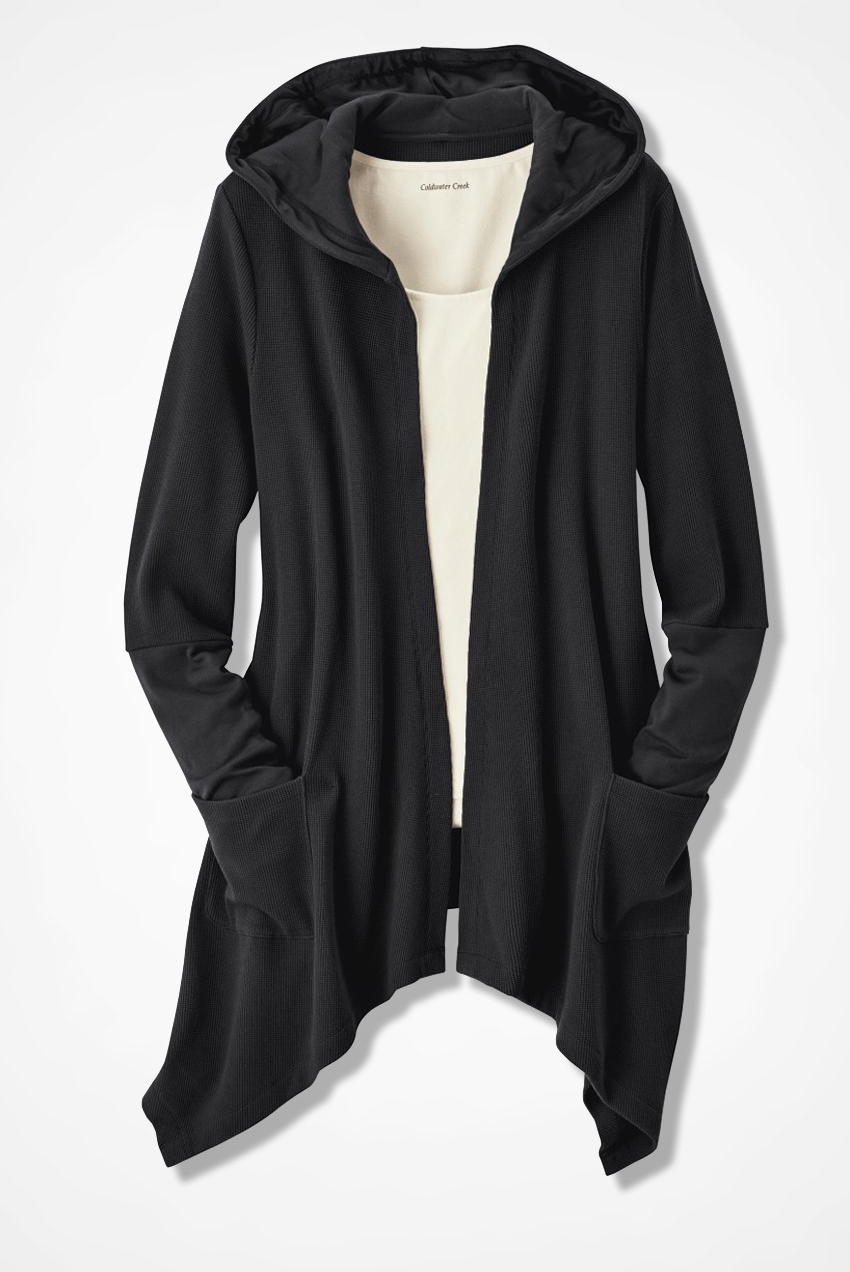 Waffle Knit Hooded Cardigan - Coldwater Creek