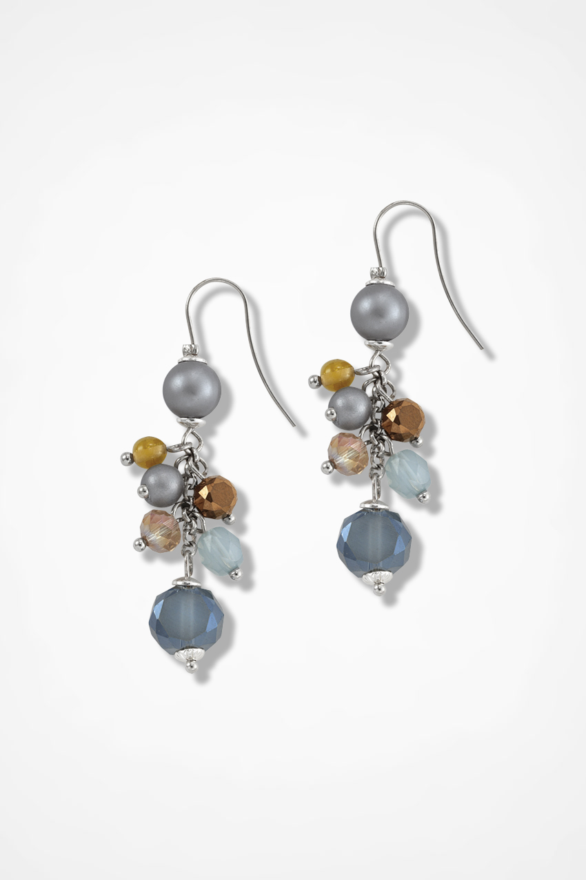 Silver And Blue Multi Bead Earrings Large