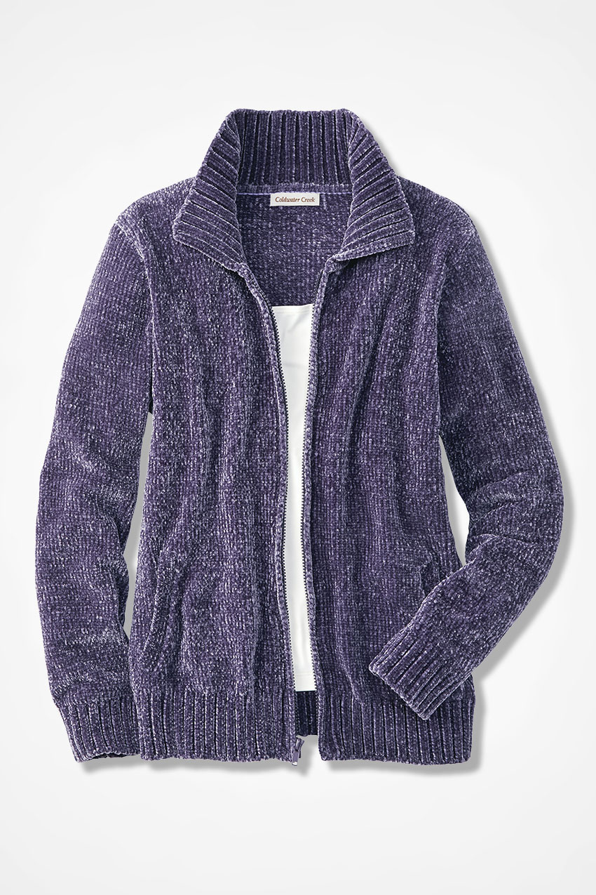 0cc853aaaa Zip-Front Chenille Cardigan - Coldwater Creek