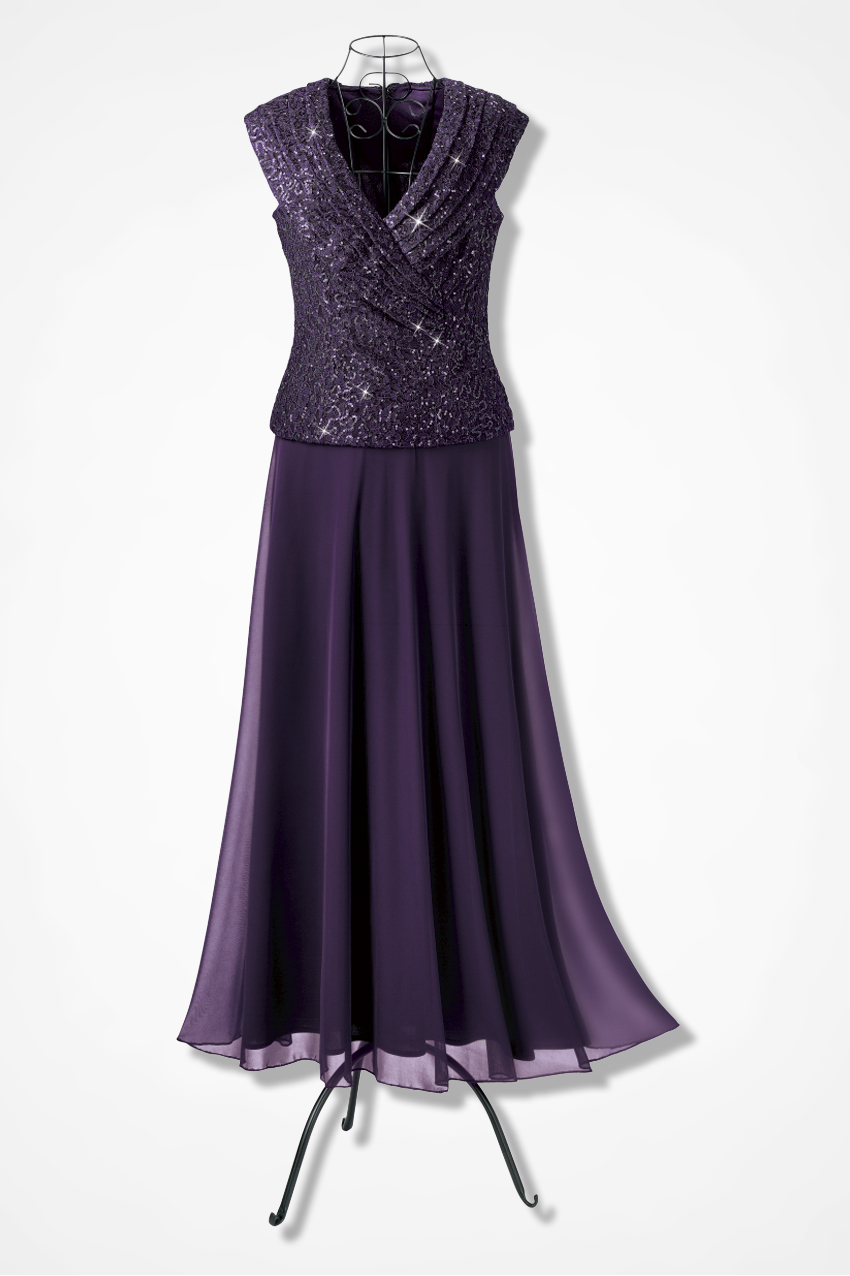 Portrait Neck Gala Dress By Patra Plum Large