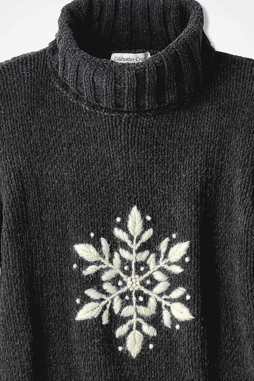 Snowflake Embroidered Chenille Sweater Coldwater Creek