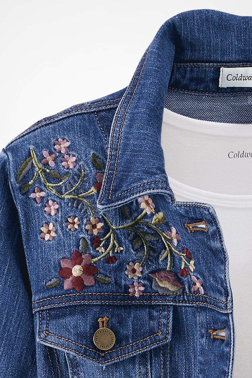 Desert rose embroidered denim jacket coldwater creek