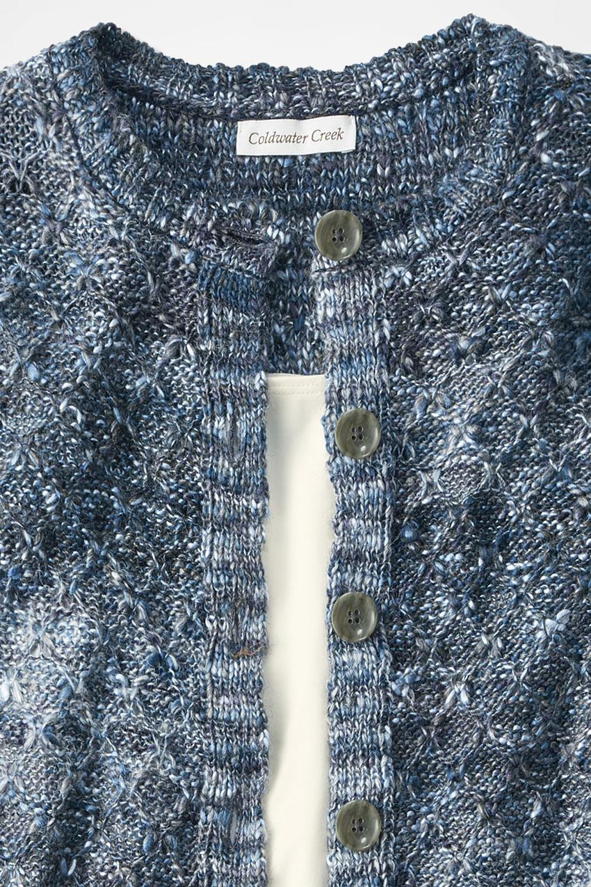 Melange Of Color Cardigan Coldwater Creek Sweater 10 Aspen Blue Large