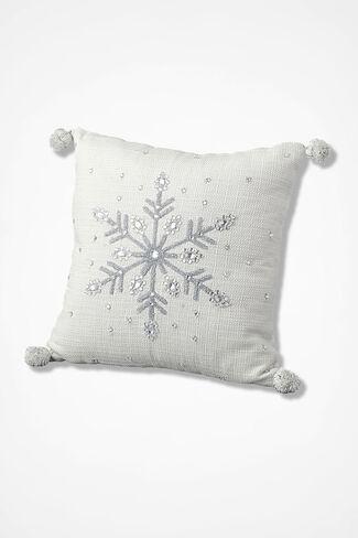 Snowflake Shimmer Square Pillow, White, large