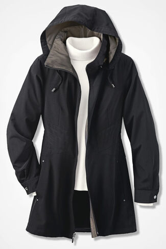 Three-Season Raincoat, Black, large
