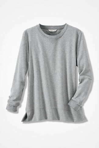 Colorwashed Fleece Pullover, Heather Grey, large