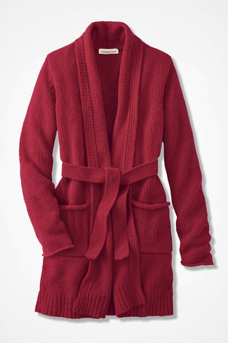 Fireside Chenille Robe, Dover Red, large