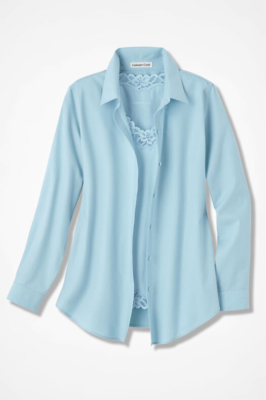 Long-Sleeve Easy Care Shirt, Porcelain Blue, large
