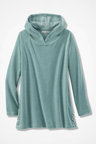 Velour du Jour Side-Laced Hooded Pullover, Aqua, large