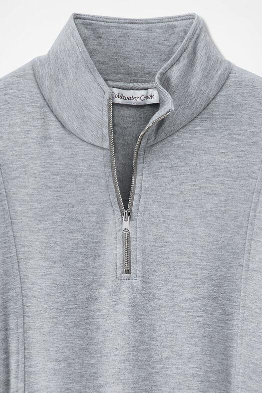 Superbly Soft Fleece Zip-Neck Pullover, Light Heather Grey, large