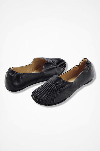 Pintuck Leather Flats, Black, large