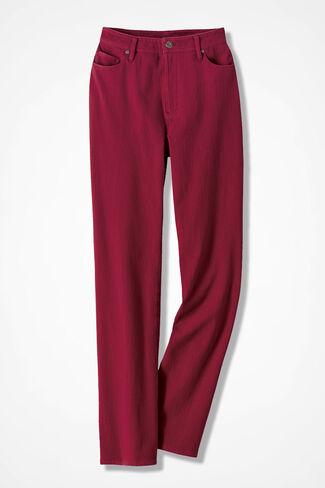 Knit Denim Straight-Leg Jeans, Dover Red, large