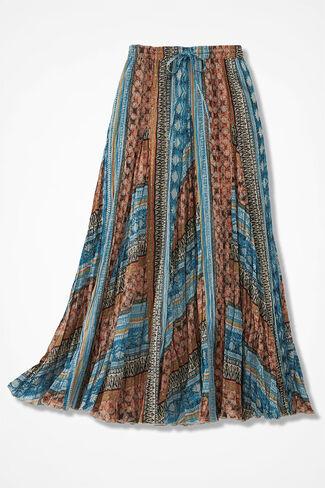 Many Borders Crinkle Skirt, Black Multi, large