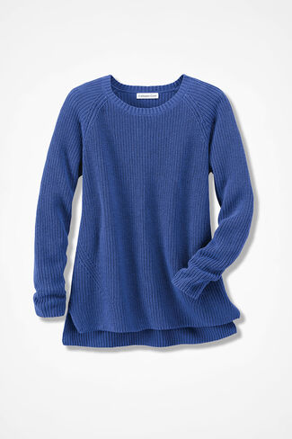 Shaker High/Low Pullover, Iris Blue, large