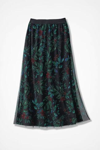 Winter Garden Mesh Knit Skirt, Black Multi, large