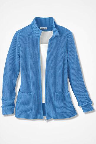 Shaker Zip-Front Cardigan, Tahoe Blue, large