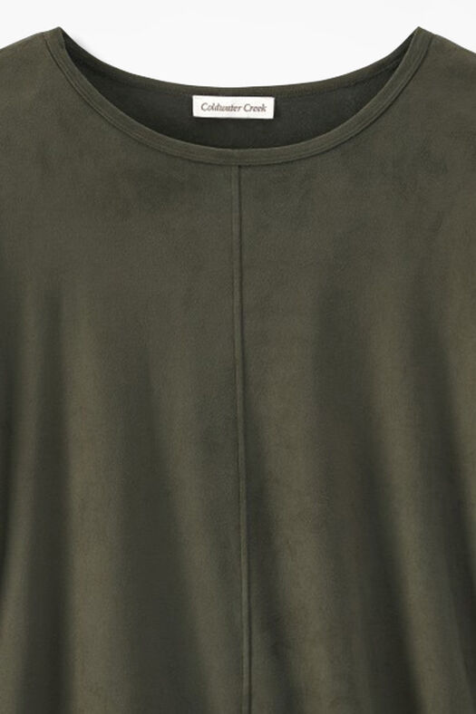 Suede-Touch Stretch Tee, Vine, large