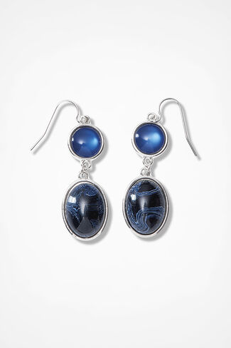 Blue Treasures Cabochon Earrings, Blue Multi, large