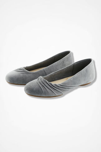 """""""Wayfarer"""" Pleated Suede Flats by Walk With Me™, Pewter, large"""