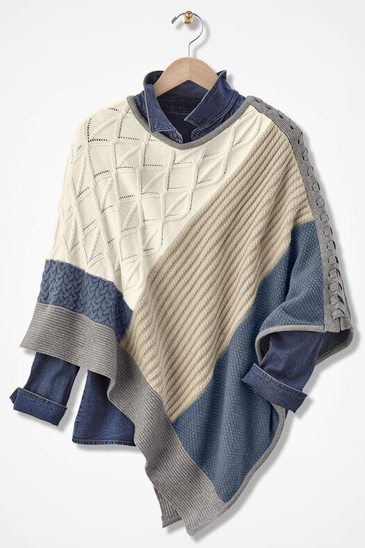 Patchwork Design Poncho by Coldwater Creek