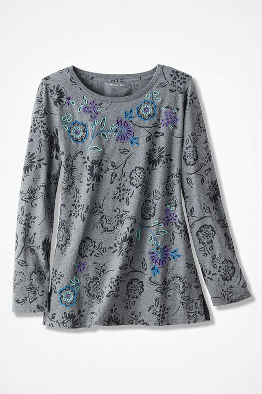 Embroidered Accent Knit Tunic, Mid Heather Grey, large