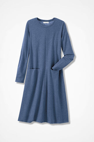 French Terry A-line Dress, Blue Heather, large