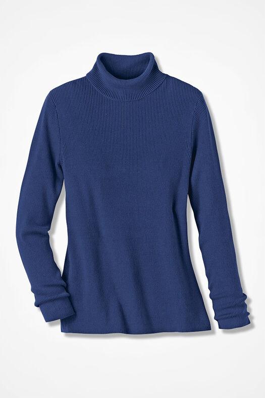 Ribbed Turtleneck Sweater, India Ink, large