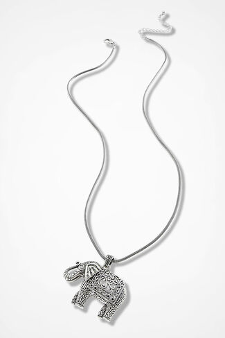 Unforgettable Elephant Necklace, Silver, large