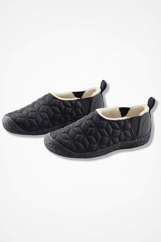 """Dakota Path"" Fleece-Lined Slip-Ons by Walk With Me™, Black, large"