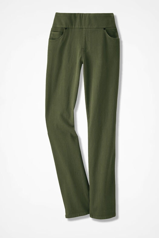 Knit Denim Pull-On Slim-Leg Jeans, Light Vine, large