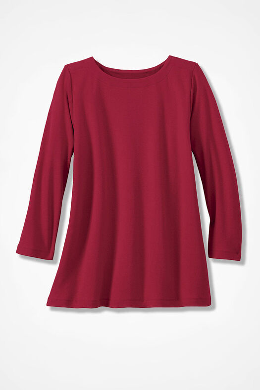 Essential Supima® Boatneck Tee, Dover Red, large