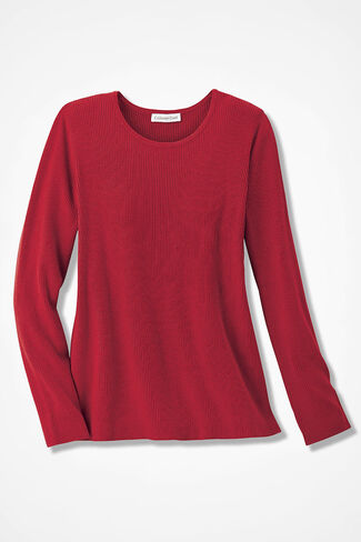Long-Sleeve Ribbed Sweater, Fresh Red, large