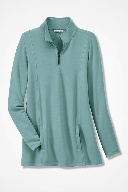 Superbly Soft Fleece Zip-Neck Pullover, Aqua, large