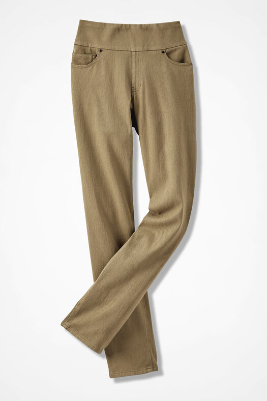 Knit Denim Pull-On Slim-Leg Jeans, Sandhill Khaki, large