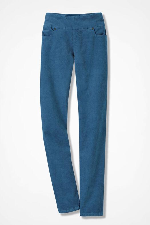 Pinwale Pull-On Stretch Corduroys, Aspen Blue, large