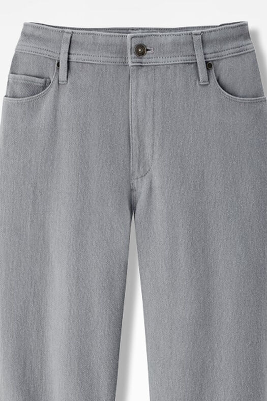 Knit Denim Straight-Leg Jeans, Pewter, large
