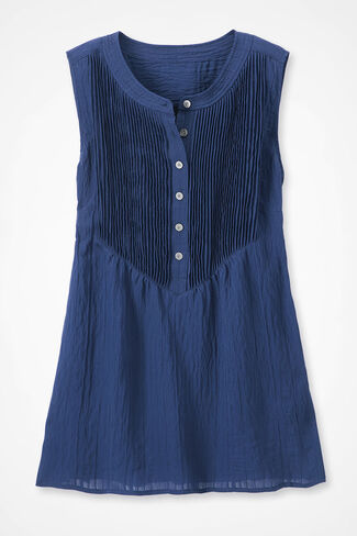 Shadow Stripe Tuck-and-Release Tunic Top, Midnight Navy, large img