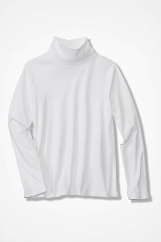 Essential Supima® Stand-Neck Tee, White, large