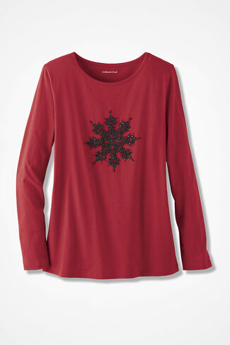 Winter Wishes Snowflake Tee, Dover Red, large