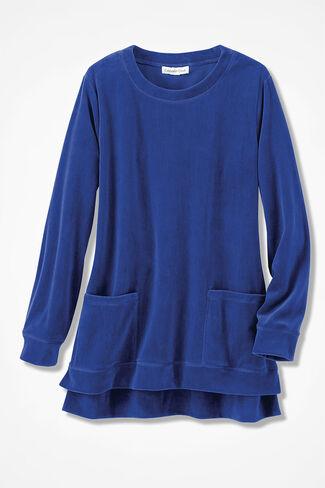 Velour du Jour Pocket Tunic, Sapphire, large