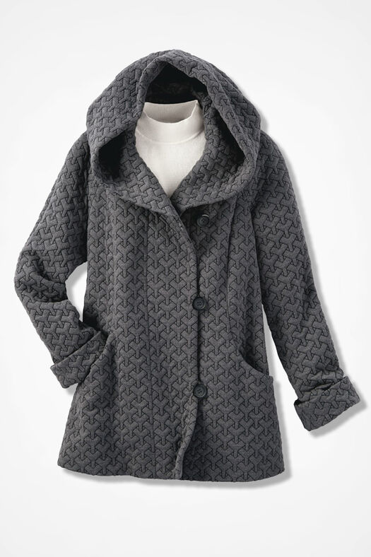 First Frost Textured Knit Coat, Charcoal, large