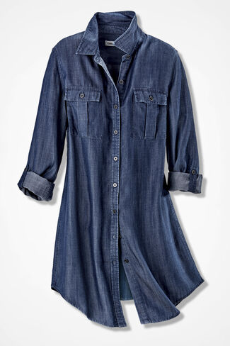 Long Tencel® Tunic, Medium Blue, large