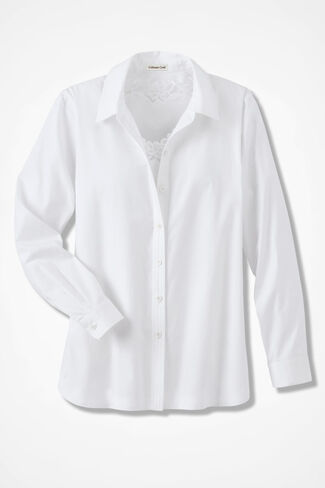 Long-Sleeve Easy Care Shirt, White, large