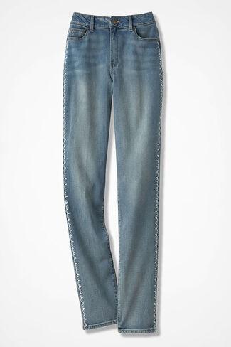 The Creek® Embroidered Slim-Leg Jeans, Medium Wash, large